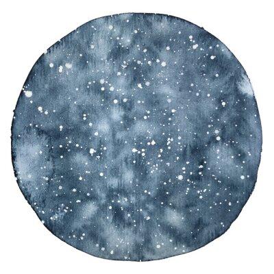 Sticker Aquarelle cercle backround d'un ciel nocturne