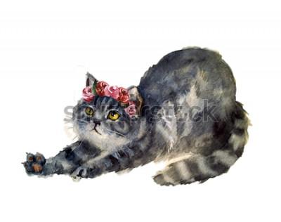 Sticker Aquarelle chat mignon avec des fleurs