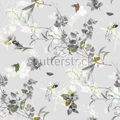 Sticker Aquarelle de feuilles et de fleurs, modèle sans couture sur fond gris