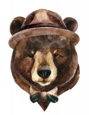 Sticker Aquarelle de tête d'ours