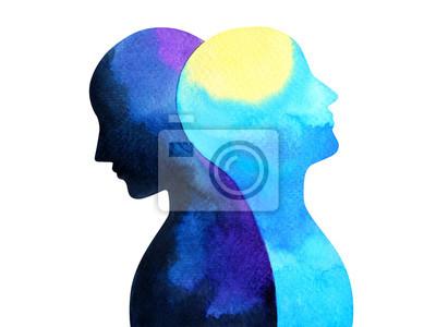 Sticker aquarelle désordre bipolaire connexion connexion illustration peinture symbole dessin