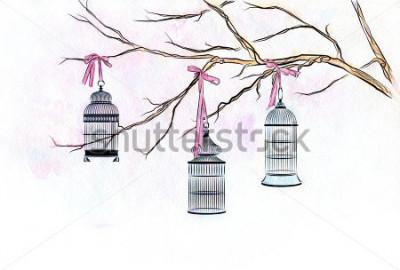Sticker Aquarelle dessiné main trois cages à oiseaux sur les branches d'un arbre avec des roses rubans.
