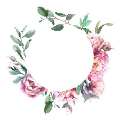 Sticker Aquarelle, fleur, pivoine, fleurs, isoler, fond blanc, pour, mariage, invitation, cartes, valentine