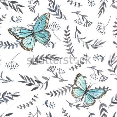 Sticker Aquarelle floral monochrome sans couture avec des papillons. Peinture à la main. Aquarelle. Modèle sans couture pour tissu, papier et autres projets d'impression et web.