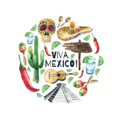 Sticker Aquarelle icônes du mexique.