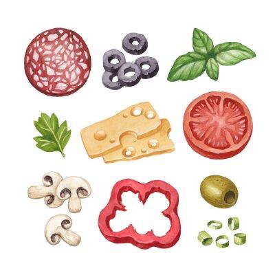 Sticker Aquarelle illustration d'ingrédients alimentaires