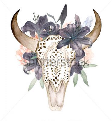 Sticker Aquarelle isolée tête de taureau avec des fleurs et des plumes sur fond blanc. Style boho. Crâne d'ornement sur fond noir, papier peint, t-shirts, textile, affiches, cartes,