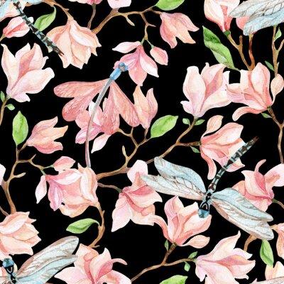 Sticker Aquarelle, magnolia, branches, libellule