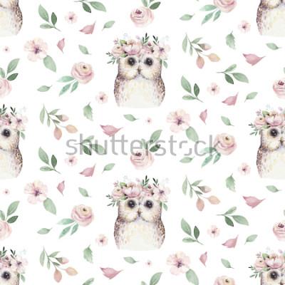 Sticker Aquarelle main transparente illustré motif floral avec feuille florale, fleurs roses et bébé chouette. Aquarelle Boho Printemps Fond D'écran Botanique Textile