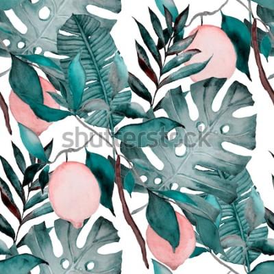 Sticker Aquarelle modèle sans couture avec les feuilles tropicales et agrumes. Imprimé botanique de mode.