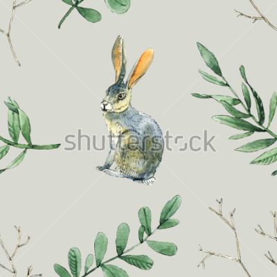 Sticker Aquarelle modèle sans couture avec les lapins, les feuilles et les branches sera bon pour l'emballage du cadeau, la conception de boîtes, site et cartes de voeux, etc.