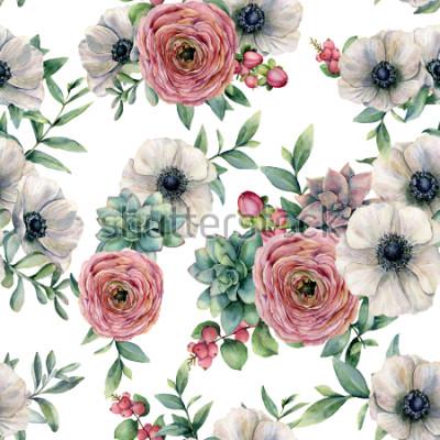 Sticker Aquarelle modèle sans couture avec succulente, ranunculus, anémone. Fleurs peintes à la main, feuilles d'eucaliptus et branche succulente isolée sur fond blanc. Illustration pour la conception, l&