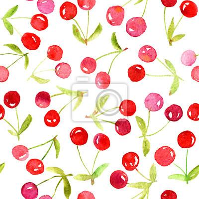 Aquarelle modèle sans soudure avec des cerises rouges. Peut être utilisé pour le papier d'emballage, le fond d'anniversaire, le jour de mère et tous les jours fériés.