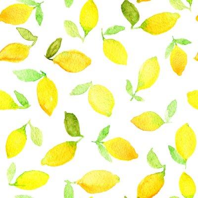 Sticker Aquarelle modèle sans soudure avec des citrons jaunes. Peut être utilisé pour le papier d'emballage, le fond d'anniversaire, le jour de mère et tous les jours fériés.
