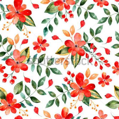 Sticker Aquarelle motif floral de transparente avec des fleurs et des feuilles rouges. Illustration florale colorée.Automne ou été fait main design pour cartes d'invitation, de mariage ou de souhaits, peu