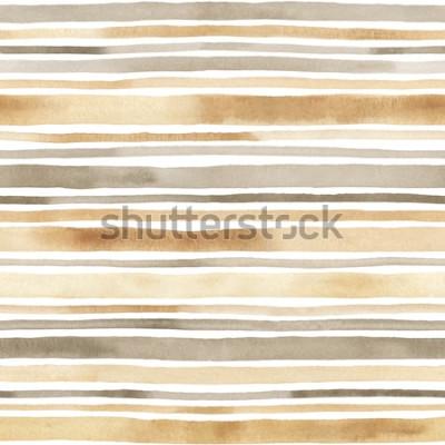 Sticker Aquarelle motif sans couture rayé. Fond dessiné à la main avec des rayures aquarelles