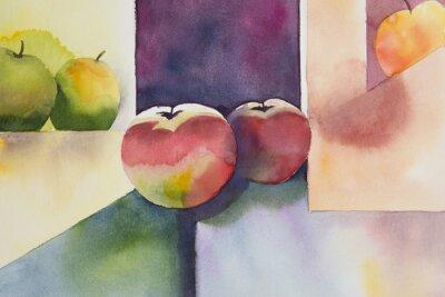 Sticker Aquarelle originale, encore la vie, de la conception de pomme.