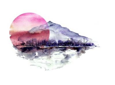 Sticker Aquarelle paysage de montagne, montagnes bleues, pourpres, pic, silhouette de la forêt, reflet dans la rivière, soleil coucher de soleil rouge. Sur fond isolé blanc. Sur fond isolé blanc.