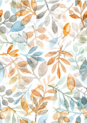 Sticker aquarelle peinte à la main des feuilles et des branches. modèle sans couture sur fond blanc