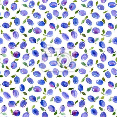 Aquarelle, seamless, modèle, bleu, prunes. Peut être utilisé pour le papier d'emballage, le fond d'anniversaire, le jour de mère et tous les jours fériés.