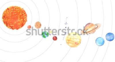 Sticker Aquarelle Système solaire. Soleil et planètes (Mercure, Vénus, Terre, Mars, Jupiter, Saturne, Uranus, Neptune) sur fond blanc.