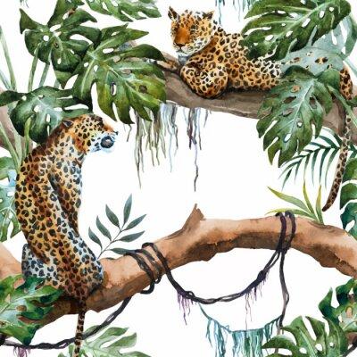 Sticker Aquarelle, vecteur, léopard, modèle