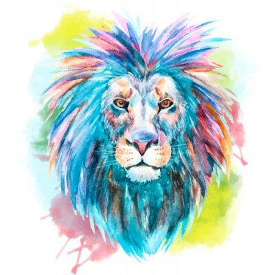 Sticker Aquarelle vecteur lion