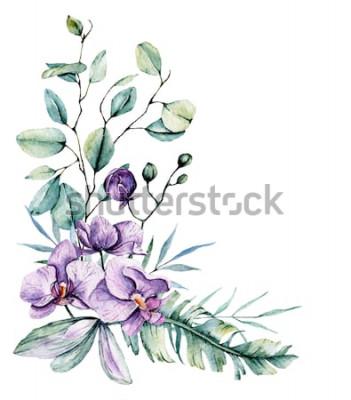 Sticker Aquarelles fleurs tropicales, bordure avec des feuilles et des orchidées. Peinture botanique, arrangement pour carte de mariage, salutations, arrière-plans, invitation, blog, etc. Isolé sur blanc.