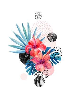 Sticker Aquarelles fleurs tropicales sur fond géométrique avec marbrures, textures de doodle