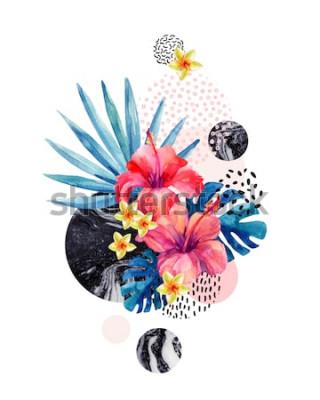 Sticker Aquarelles fleurs tropicales sur fond géométrique marbré, textures de doodle. Main dessinée fleur avec éventail, feuilles de monstera, formes géométriques dans un style minimal. Illustration d'art