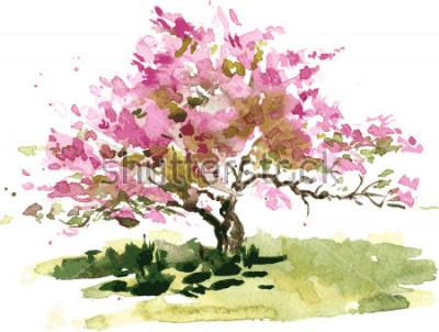 Sticker arbre à fleur de cerisier dessin à l'aquarelle, aquarelle esquisse de fleurs de pommier en fleurs, peinture jardin, fond d'art vectoriel dessiné à la main
