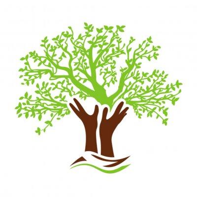 Sticker arbre diversité solidarité mains jardinier logo