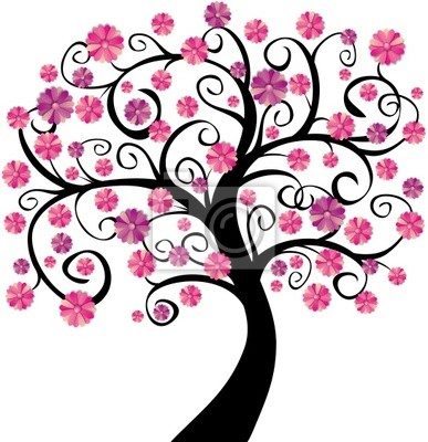 Sticker Arbre en fleurs roses