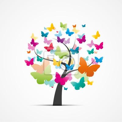 Sticker Arbre et papillons