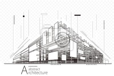 Sticker Architecture abstraite de la perspective de construction, conception d'un fond d'art en ligne.