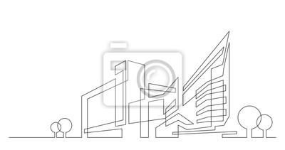 Sticker Architecture abstraite de la ville avec des arbres - graphiques vectoriels à une seule ligne sur fond blanc