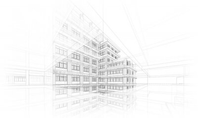 Sticker Architecture background. Perspective 3d Wireframe of building design and model my own
