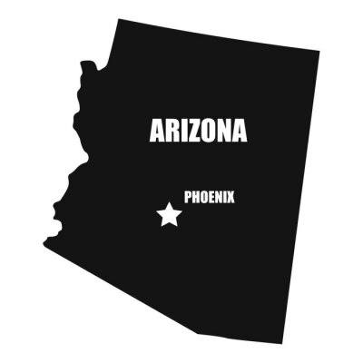Arizona map in black on a white background