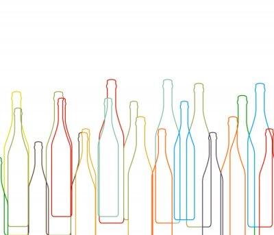 Sticker Arrière-plan avec des bouteilles fixé