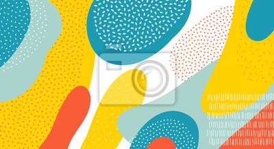 Sticker Art abstrait couleur vecteur de fond de formes ovales ou en cercle colorés avec la conception de points et de lignes de Memphis