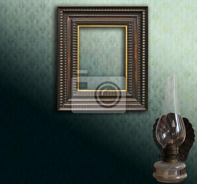 Cadre Vide art déco cadre vide sur le damas vert et lampe à pétrole stickers pc