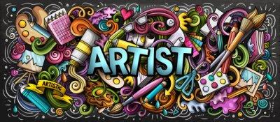 Sticker Artiste fournit une illustration en couleur. Doodles d'arts visuels. Fond d'art peinture et dessin.