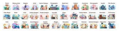 Sticker Artistic occupation set. Designer, dancer, artist, musician, florist