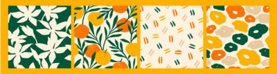 Sticker Artistic seamless pattern with abstract flowers and oranges.