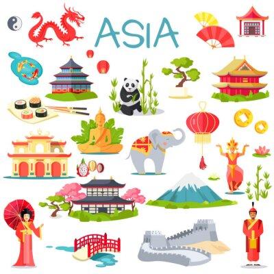 Sticker Asia, collection, symbolique, Éléments, blanc