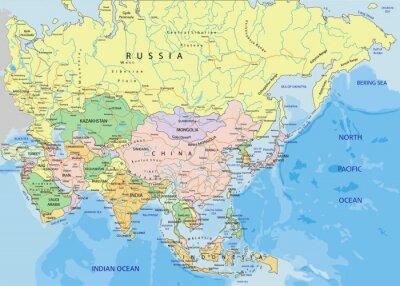 Sticker Asie - très détaillée carte politique modifiable.