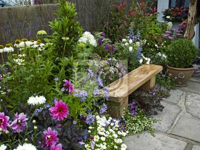 Assises dans un jardin fleuri coloré stickers pc portable ...