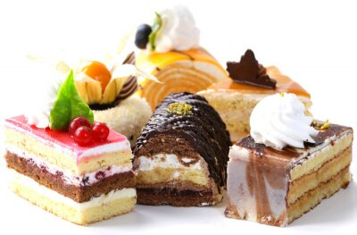 Sticker Assorti, différent, mini, gâteaux, crème, chocolat, baies