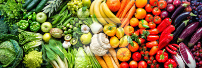 Sticker Assortment of fresh organic fruits and vegetables in rainbow colors