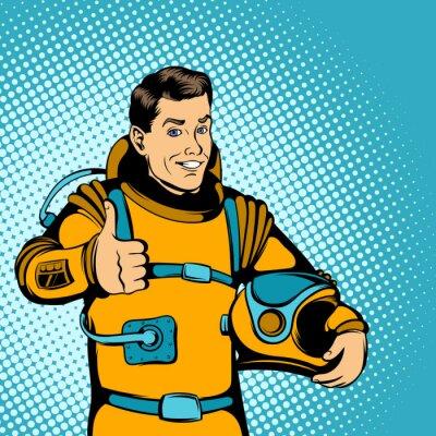 Sticker Astronaute concept, comics style